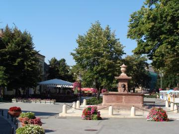 Sremski Karlovci town center and the fountain Four lions